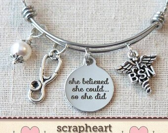 BSN Nurse Gifts, BSN Graduate Gifts, She Believed She Could So She Did Nurse Bsn Graduation Gift, Nurse Graduate Bracelet, Gifts For Nurses