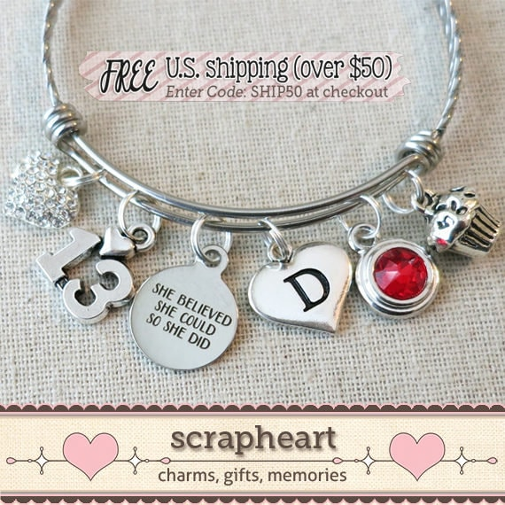 Happy 13th Birthday Heart Charm Bracelet BIRTHDAY GIRL Teenage Daughter Gift Ideas Gifts For Girls 13 Year Old Teen Girl