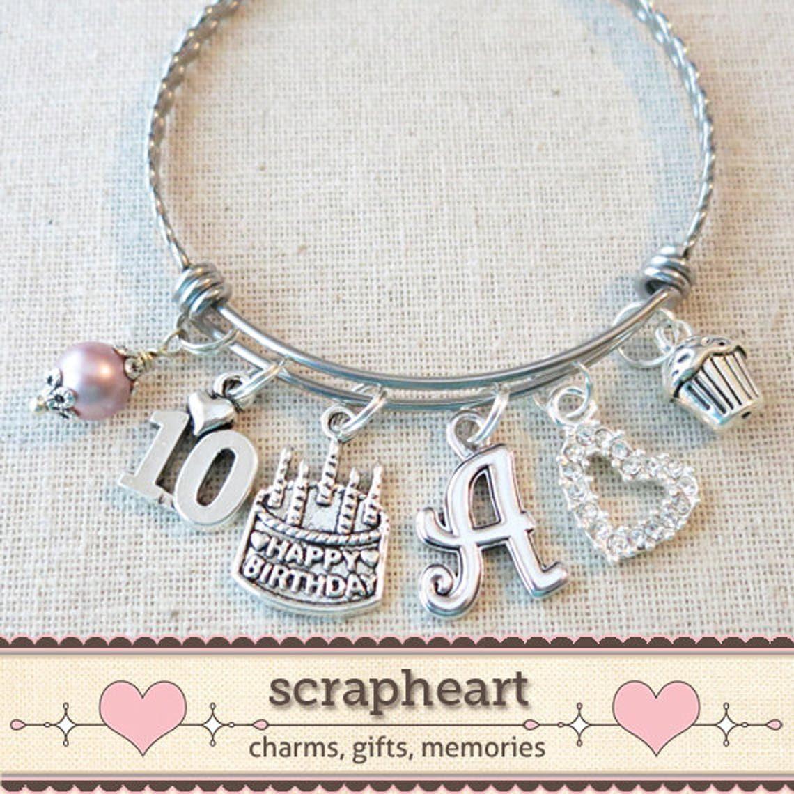 10th BIRTHDAY GIRL Birthday Charm Bracelet