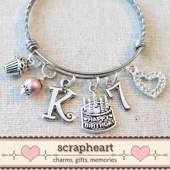 7th BIRTHDAY GIRL Birthday Charm Bracelet 7 Year Old