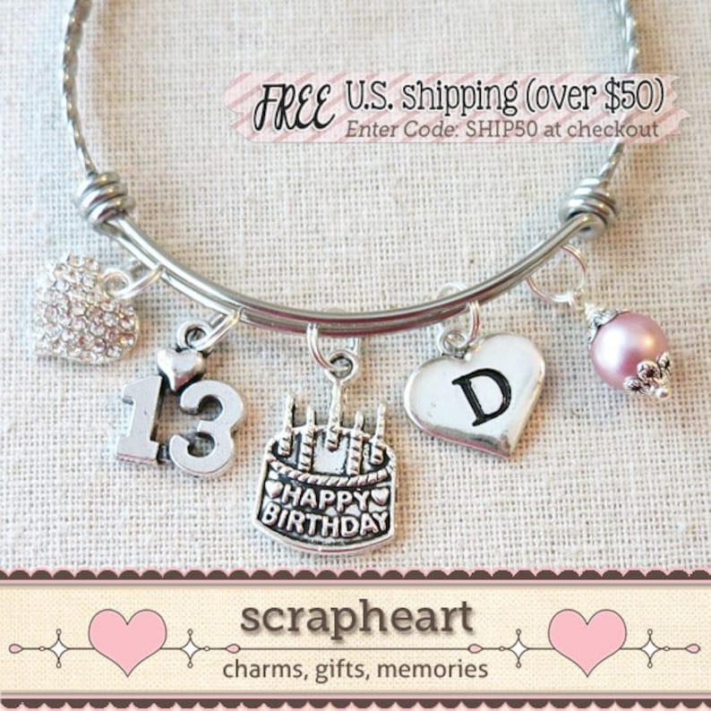 13th BIRTHDAY Charm Bracelet Happy 11th 12th Birthday