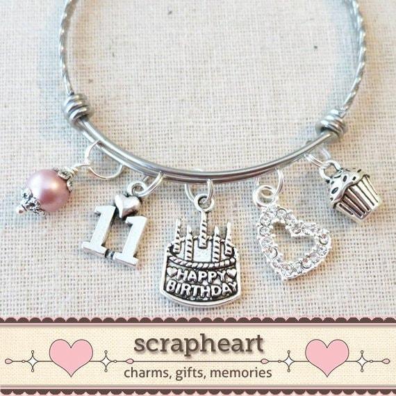 11th BIRTHDAY GIRL Birthday Charm Bracelet