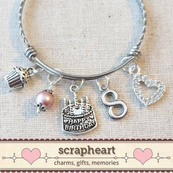 8th BIRTHDAY GIRL Birthday Charm Bracelet 8 Year Old