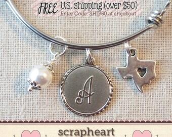 Texas State Bracelet, Heart of Texas Bracelet, Texas Strong Jewelry, Texas Bangle Bracelet, Texas Charm Bracelet, State of Texas Bracelet