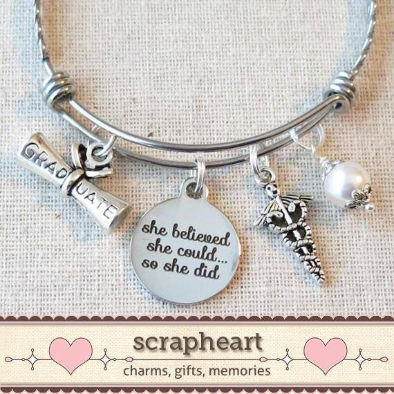 nurse medical graduation gift bracelet she believed she could etsy