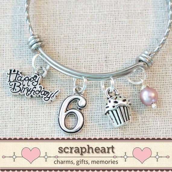 6th BIRTHDAY GIRL Birthday Charm Bracelet 6 Year Old