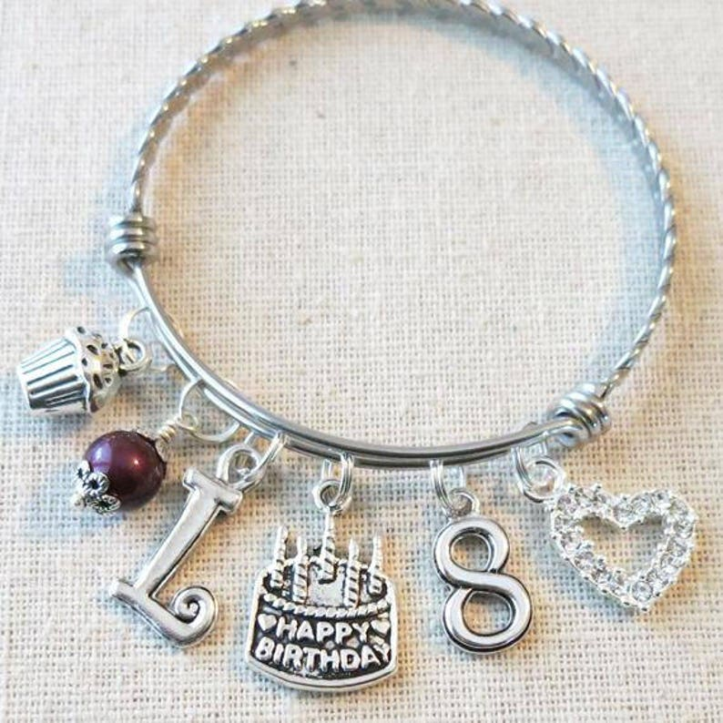 8th BIRTHDAY GIRL Birthday Charm Bracelet 8 Year Old Daughter Gift Idea Girls Eighth Girl