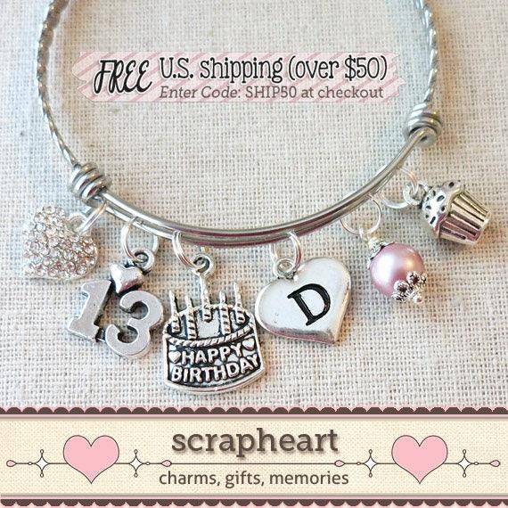 13th BIRTHDAY GIRL Birthday Charm Bracelet Teenage