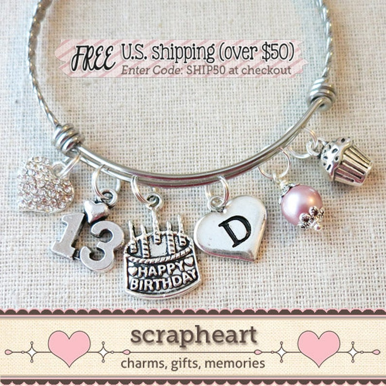 13th BIRTHDAY GIRL Birthday Charm Bracelet Teenage