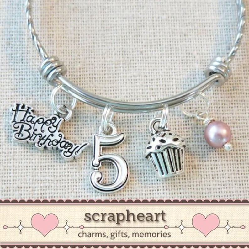 5th BIRTHDAY GIRL Birthday Charm Bracelet 5 Year Old Daughter Gift Idea Girls Fifth Girl