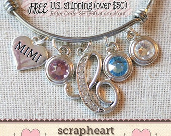 PERSONALIZED Mimi Gift, Gifts for MIMI, Mimi Bracelet, Birthstones Bangle Bracelet, MIMI Gift from Grandchildren, Mother's Day Gift for Mimi