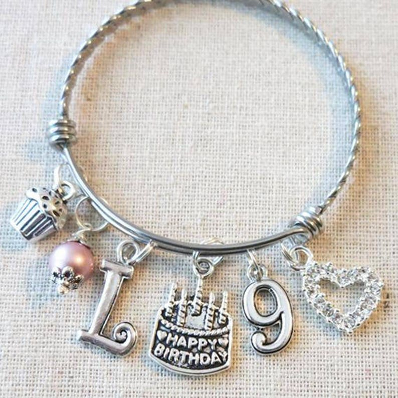 9th BIRTHDAY GIRL Birthday Charm Bracelet 9 Year Old