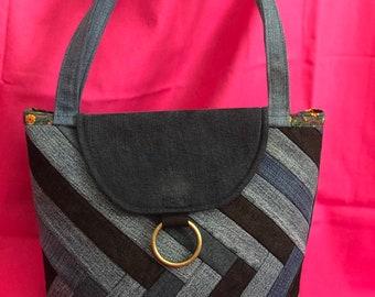 Handmade Denim Tote Bag V Design