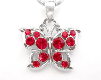 Crystal Butterfly Pendant Charm Chain Necklace Silver Tone Red