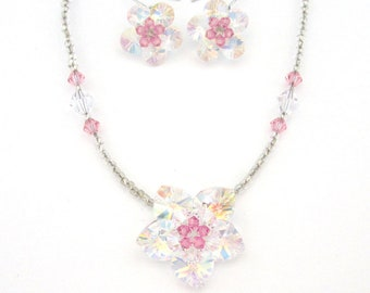 Crystal Flower With Clear Beads Beaded Necklace And Silver Hook Earrings Set Clear AB Pink