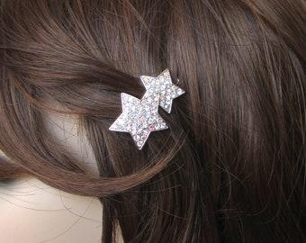 Crystal Star Small Barrette Hair Clip Accessory Silver Tone Clear Clear AB