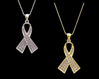 Crystal Lavender Ribbon Bow Epilepsy All General Cancers Awareness Pendant Charm Necklace Silver Tone Gold Tone
