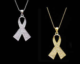 Crystal Clear White Ribbon Bow Lung Cancer Awareness Pendant Charm Necklace Silver Tone Gold Tone