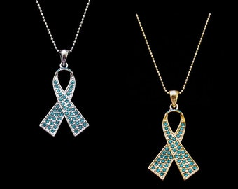 Crystal Teal Ribbon Bow Ovarian Cancer Awareness Pendant Charm Necklace Silver Tone Gold Tone