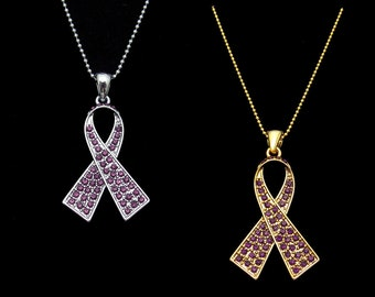 Purple Crystal Ribbon Bow Honors Caregivers Pancreatic Cancer Lupus Alzheimer's Disease Awareness Pendant Necklace Silver Tone Gold Tone