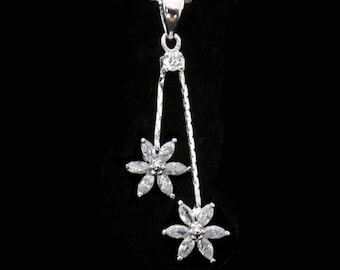 Cubic Zirconia CZ Crystal Flower Pendant Charm Chain Necklace Silver Tone Clear