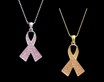 Crystal Pink Ribbon Bow Breast Cancer Awareness Pendant Charm Necklace Silver Tone Gold Tone