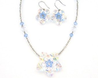 Crystal Flower With Clear Beads Beaded Necklace And Silver Hook Earrings Set Clear AB Light Blue