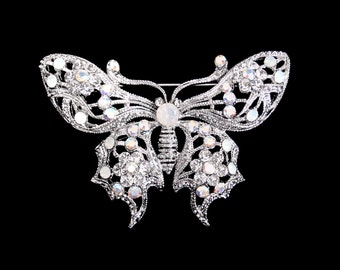 Crystal Butterfly Brooch Pin Silver Tone Clear White