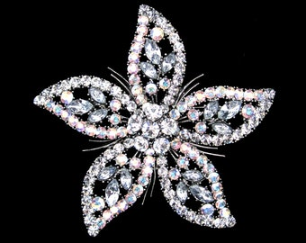 Crystal Large Flower Brooch Pin Silver Tone Clear Clear AB