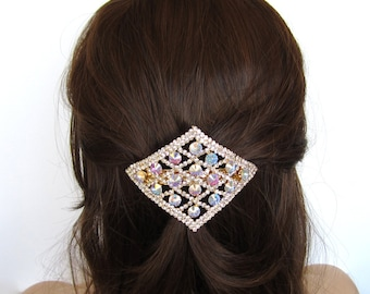 Crystal Rhombus Square Diamond Shape Large Hair Accessory Jewelry Barrette Clip Gold Tone Clear Clear AB