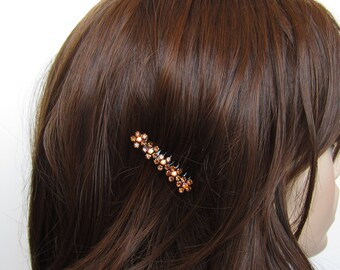 Crystal Small Flowers Hair Accessory Jewelry Comb Clip Black Tone Wedding Bridal Bridemaid Topaz Amber AB Smoked Topaz Brown