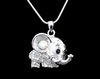 Crystal Elephant Pendant Charm Chain Necklace Silver Tone Clear Clear AB