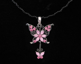 Crystal Butterfly Pendant Charm With Black Beads Beaded Chain Necklace Pink