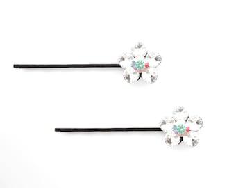 Crystal Cute Single Flower Bobby Pin PAIR Hair Clip Accessory Black Tone Clear Clear AB