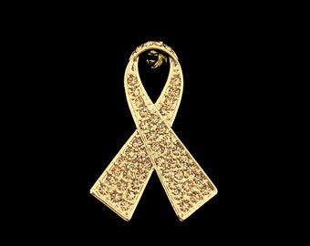 Crystal Gold Ribbon Bow Children Child Childhood Cancer Awareness Brooch Pin Gold Tone