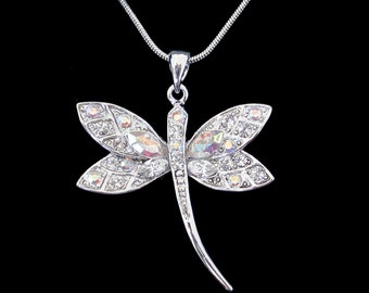 Crystal Dragonfly Pendant Charm Chain Necklace Silver Tone Clear