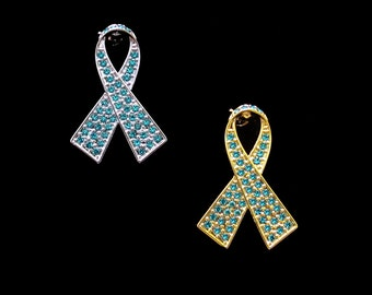 Crystal Teal Ribbon Bow Ovarian Cancer Awareness Brooch Pin Silver Tone Gold Tone