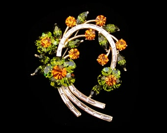 Crystal Large Flower Wreath Brooch Pin Gold Tone Clear Amber Topaz Olive