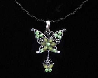 Crystal Butterfly Pendant Charm With Black Beads Beaded Chain Necklace Green Olive