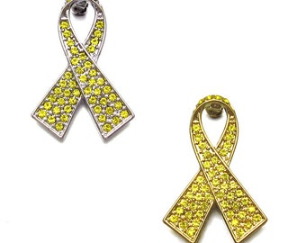 Crystal Yellow Ribbon Troops Soldier Military Support Parkinson's Disease Bladder Bone Cancer Awareness Brooch Pin Silver Tone Gold Tone