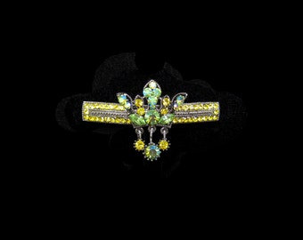 Crystal Crown With Dangling Drops Barrette Hair Clip Antique Silver Tone Green