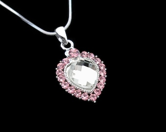 Crystal Heart Pendant Charm Necklace Silver Tone Light Rose Pink With 10mm Heart Clear