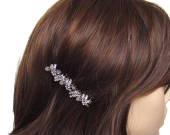 Crystal Hair Accessory Jewelry Comb Clip Anitique Silver Pewter Tone Wedding Bridal Bridemaid Grey Gray Hematite Black Charcoal