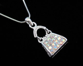 Crystal Purse Handbag Pendant Charm Chain Necklace Silver Tone Clear AB