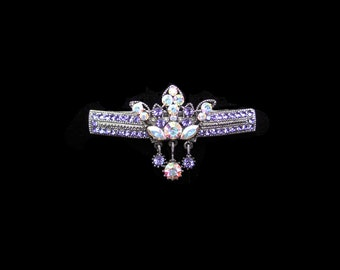 Crystal Crown With Dangling Drops Barrette Hair Clip Antique Silver Tone Periwinkle