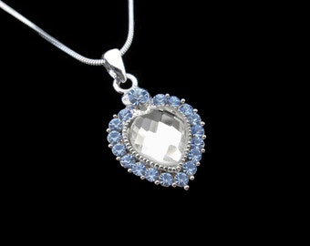 Crystal Heart Pendant Charm Necklace Silver Tone Light Sapphire Blue With 10mm Heart Clear