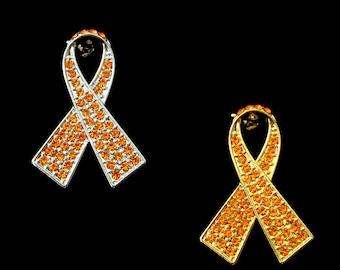 Crystal Orange Ribbon Bow Leukemia Kidney Cancer Multiple Sclerosis ADHD Awareness Brooch Pin Silver Tone Gold Tone