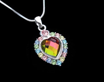 Crystal Heart Pendant Charm Necklace Silver Tone Multi Color With 10mm Heart Rainbow Medium Vitrail