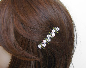 Crystal Small Flowers Hair Accessory Jewelry Comb Clip Antique Silver Tone Wedding Bridal Bridemaid Olive Green Clear Clear AB