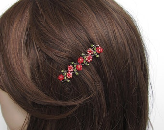 Crystal Small Flowers Hair Accessory Jewelry Comb Clip Antique Silver Tone Wedding Bridal Bridemaid Olive Green Red Red AB